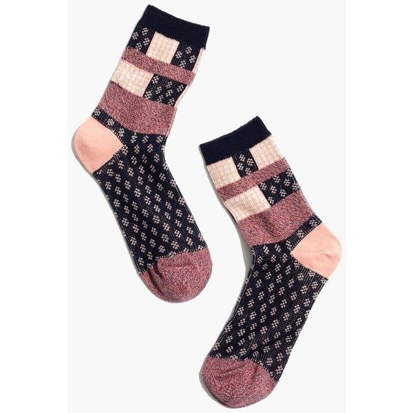 Madewell Clothing ($8.50) ❤ liked on Polyvore featuring intimates, hosiery, socks, dusty pink, print socks, madewell, patterned hosiery and patterned socks