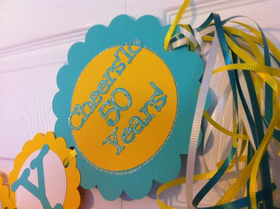 50th Birthday Decorations Cheers to 50 years  by FromBeths on Etsy, $25.75