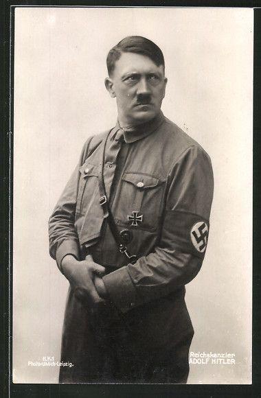 old postcard: AK Reichskanzler Adolf Hitler in Uniform mit Hakenkreuzarmbinde