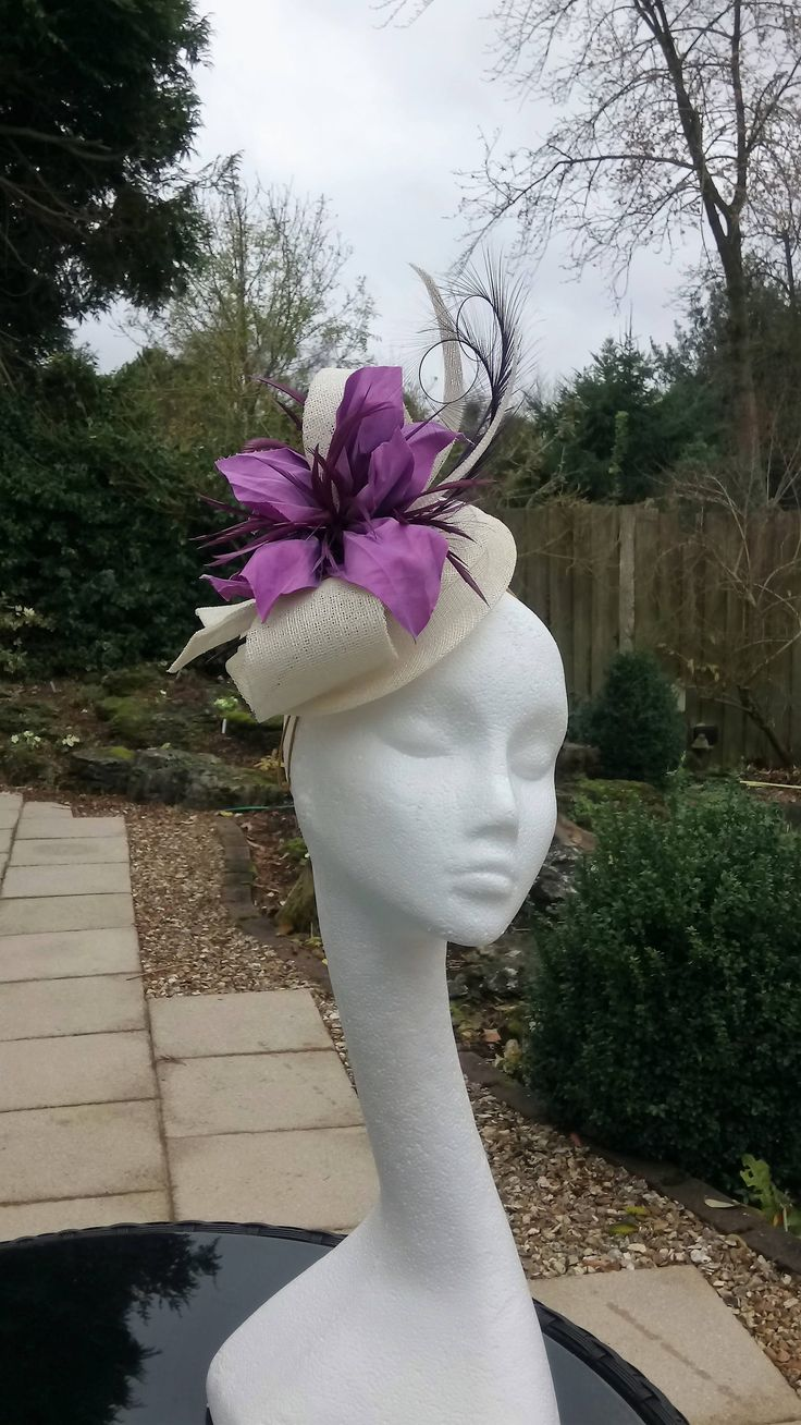Ivory Hatinator, Lilac Fascinator, #Wedding Hat, Royal Ascot Headpiece, Wedding #Fascinator, Occasion Hat, Millinery, Mother of the Bride Hat by JayneAlisonMillinery on Etsy