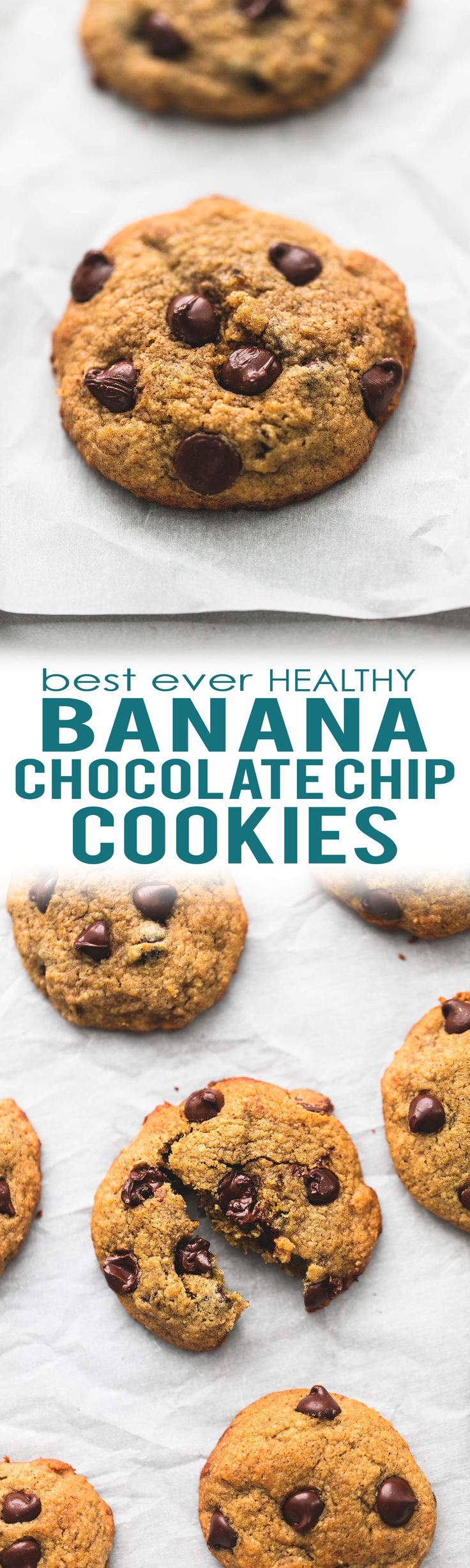 BEST ever banana chocolate chip cookies are chewy and flavorful with no flour and ingredient swaps to make them healthier! | lecremedelacrumb.com