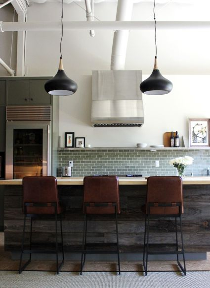 reclaimed wood detail + tile backsplash + open shelving + pendants by disc interiors