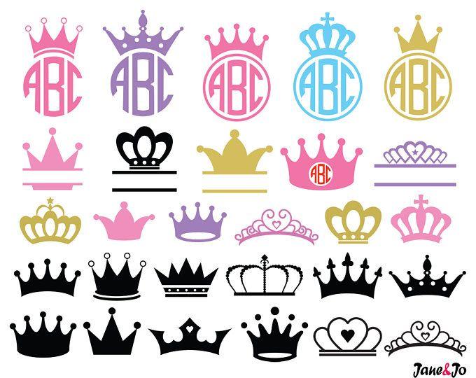 Svg, princesa Crown Svg, corona monograma Svg, Svg de coronas, imágenes prediseñadas de la corona, Cricut cortar archivos svg, silueta corte archivos svg, vector SVG DXF de la corona de la corona