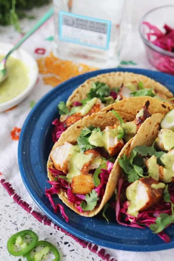 Coconut Tequila Lime Fish Tacos with Creamy Avocado Salsa
