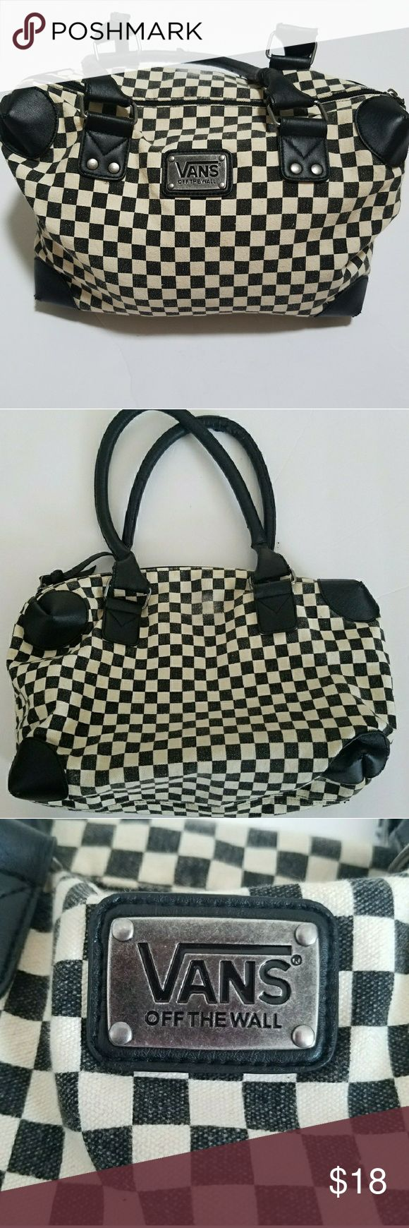 """Vans Classic Black/White Checkerboard Bag Vans Classic Black/White Checkerboard Purse.  Approx. measurements 15""""width, 9"""" length. Slight fading, cracking on handle and bottom. Clean inside with interior zip pocket. Bags Shoulder Bags"""