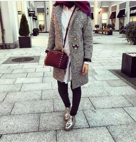 grey-trench-coat-hijab- Ootd hijab styles http://www.justtrendygirls.com/ootd-hijab-styles/