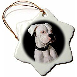 3drose White Boxer Uncropped Ears Snowflake Porcelain Ornament, 3-Inch