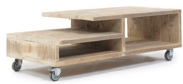 Verrijdbare lage tafel van steigerhout, televisiemeubel.