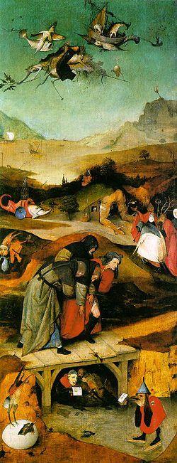 TemptationStAnthony-, Jérôme Bosch, après 1501, Musée de Lisbonne- Dans cette oeuvre datant de la pleine maturité de l'artiste, le thème mystique de la lutte entre la contemplation et le péché s'enrichit de figures suggérées par les instruments et les symboles de l'alchimie, de la sorcellerie et de l'hérésie.
