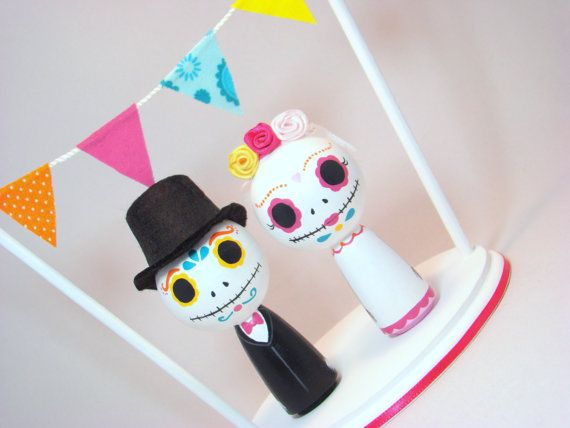 Day of the Dead Kokeshi Doll Wedding Cake Topper. pegged, via Etsy.