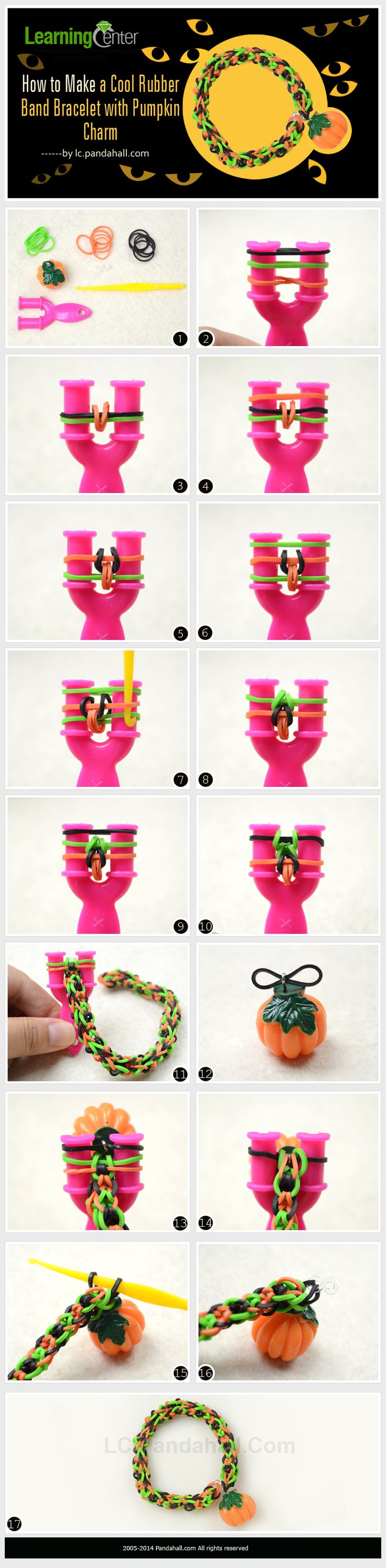 How to Make a Cool Rubber Band Bracelet with Pumpkin Charm