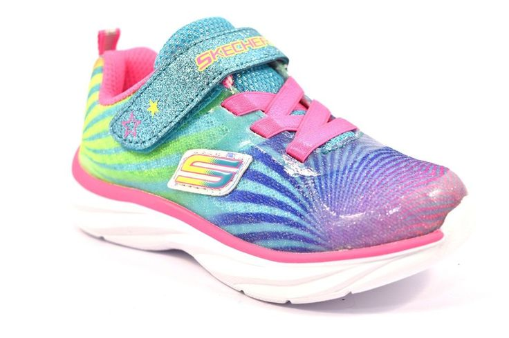 SKECHERS 80591N MLT COLORBEAM Glitter Rosa Verde Fuxia Bambina Sneakers Strappo