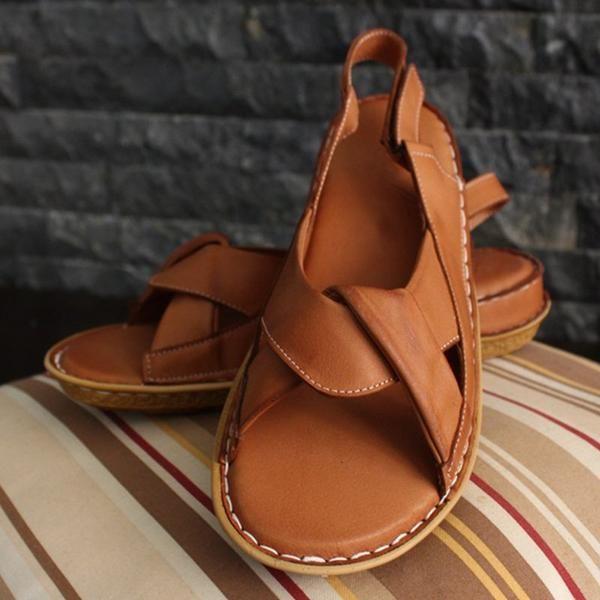 Kaufen Sie Sandalen Loovincy Sandalen Rot Flach Lässig