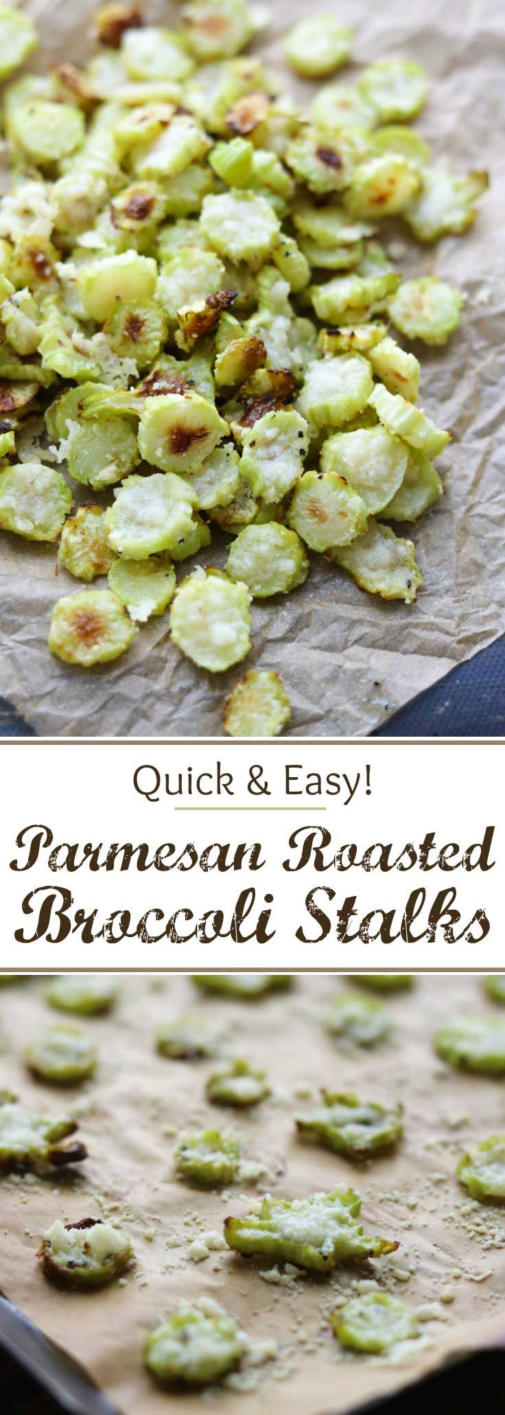 Save money – don't throw away your broccoli stalks! These Parmesan Roasted Broccoli Stalks are so easy and even kids love them! Really! Roasted Parmesan Broccoli Stems are a great healthy snack recipe, or a quick dinner side dish recipe. These oven roasted broccoli chips are quick and easy, and they deliciously use a part of the broccoli that's often discarded. Plus, you get some really cute, fun shapes, too – a perfect way to get your kids to eat more vegetables…
