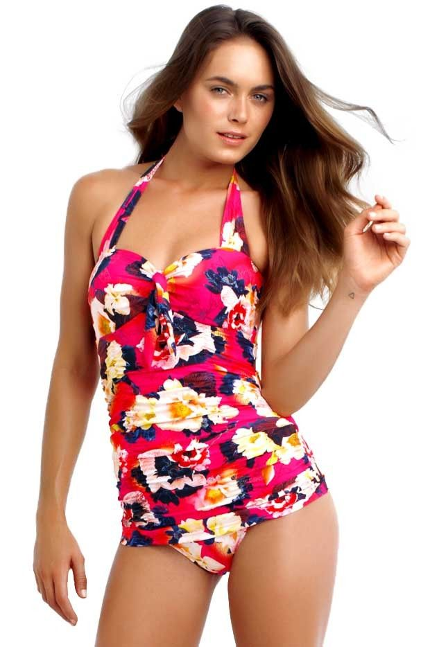 Seafolly Kabuki Bloom One Piece - Seafolly Kabuki Bloom One Piece with;  Kabuki Bloom paradise floral print Vintage retro skirted style 3 step zig zag stitching & tie front features Ruched torso to flatter and disguise Soft cups for a smooth bust shape Side boning for bust support Gripper tape to hold you in place Adjustable straps for a perfect fit Convertble straps for versatile looks Vivid & bright seychelles orraspberry hues Made from a nylon/elastane blend ...
