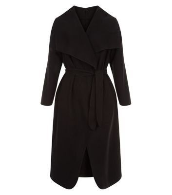Cameo Rose Black Belted Maxi Coat