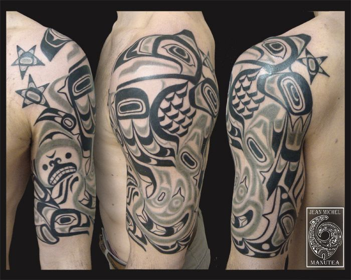 45 Best Haida Sleeve Tattoos Templates Images On Pinterest