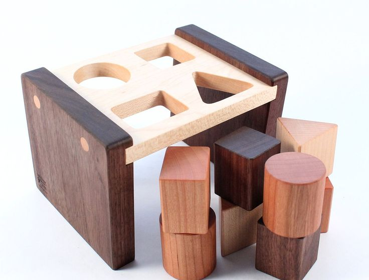 wooden SHAPE SORTER toy - a natural and organic educational wood toy, learning fun for baby and toddler. $43.00, via Etsy.