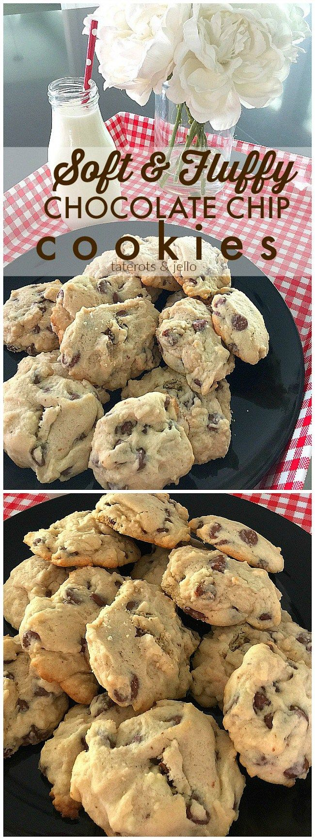 Light and Fluffy Chocolate Chip Cookies. These cookies are light and airy and filled with chocolate chips. They require no brown sugar so they are not as sweet as a traditional chocolate chip cookie, with a firm outside and soft and chewy inside.