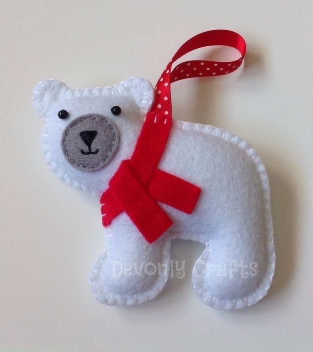 Christmas Polar Bear Felt Hanging Decoration, Ornament £6.50