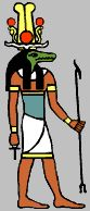 Sobekh, god of the Nile river, depicted as a crocodile or a man with the head of a crocodile.