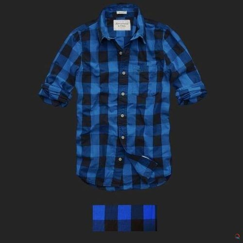 Leñadora Abercrombie & Fitch (couchsachraga long sleeve men plaid shirt royal blue and black).