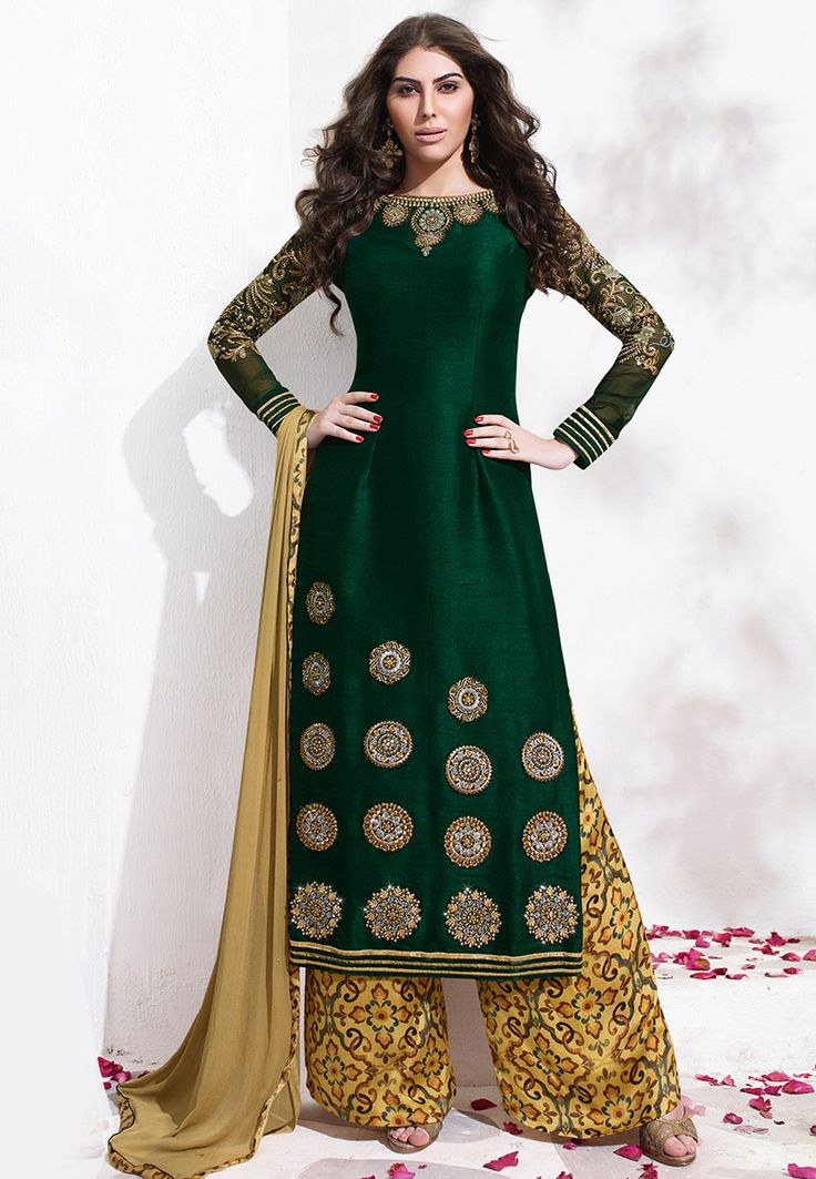 Buy Embroidered Art Silk Pakistani Suit In Dark Green