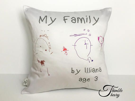 Turn your child's drawing into a keepsake! Perfect gift for the grandparents!  https://www.etsy.com/ca/listing/566118295/pillow-with-your-kids-drawing-your-kids?ref=listing-shop-header-1