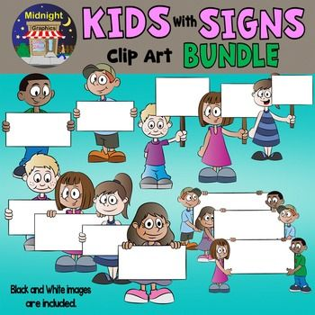 This big bundle includes 24 images in all:  Twelve school kids holding signs in various sizes, and the same twelve images in black and white images. All 24 .png files are saved in 300 dpi for clear, crisp images. ***************************************************************************You might also like:Kids with Pencils - JohnnyKids with Pencils - CharlesKids with Pencils - MikeKids with Pencils - SarahKids with Pencils - MariaKids with Pencils - PattyKids at Desks - CharlesKids at…