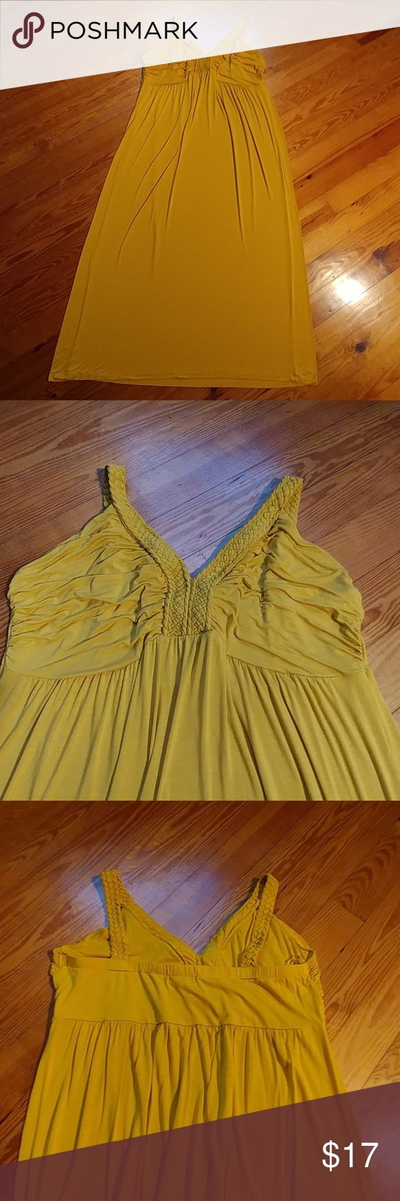 Plus Size Design History Gold Maxi Dress Plus Size Design History. Mustard Gold Maxi Dress.Viscose & spandex. Size 2X. Measurement win from armpit to armpit. Has banded back which allows for great stretch! 55in long from shoulder to hemline. Also soft as butter & excellent condition. Sold as is. Dresses