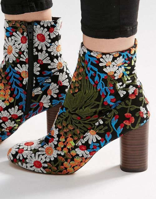 "california-diamond: ""floral ankle boots """