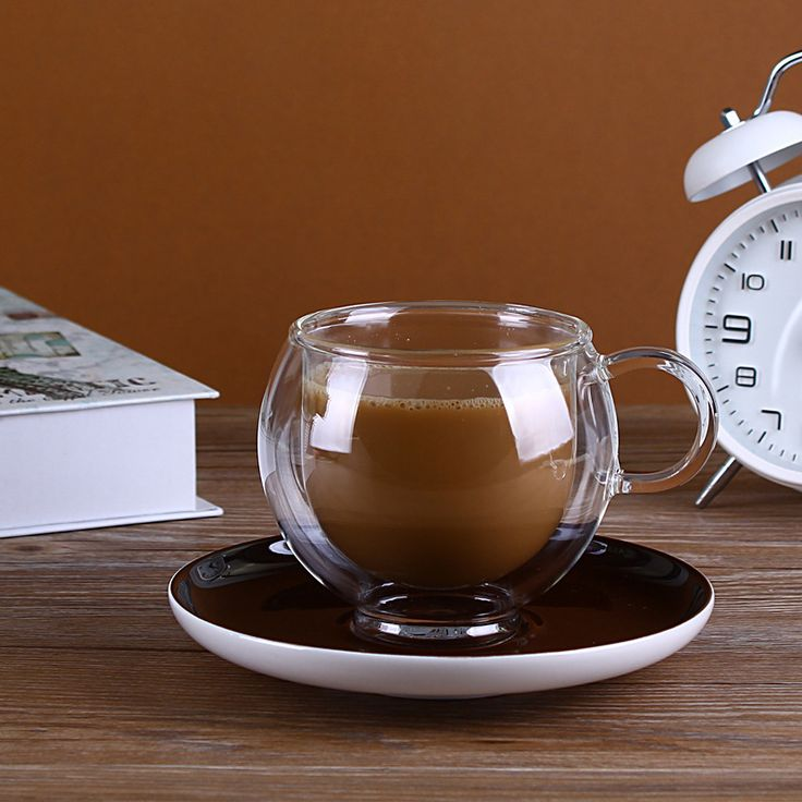 Glass Tea ware Coffee cup with tray   European high-grade double layer glass mug cup