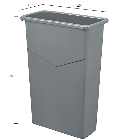 Global™ 23 Gallon Slim Trash Container - Gray