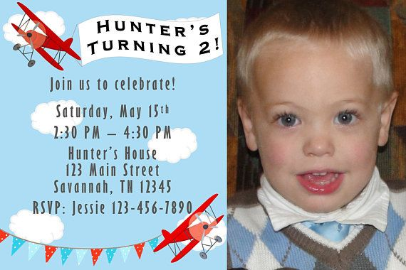 Planes Birthday Party Invitation with photo