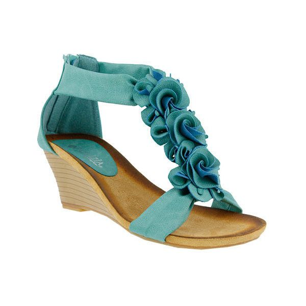 Women's Patrizia Harlequin Wedge Sandal ($50) ❤ liked on Polyvore featuring shoes, sandals, casual, floral shoes, wedges shoes, turquoise wedge sandals, zipper sandals and mid heel sandals