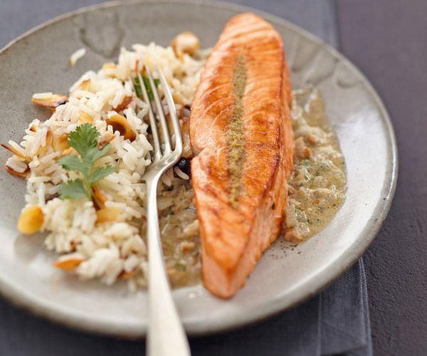 Pavé de #saumon au #curry vert et #noix de #cajou