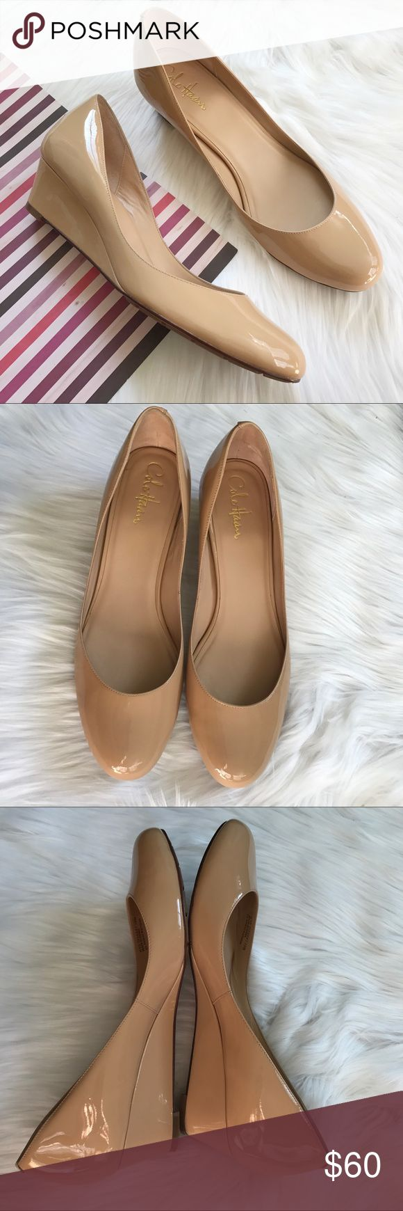 "Cole Haan Air Talia Patent Wedge Pre-loved, with box, Women's sleek, slip on wedge, designed with Nike Air, 1.75"" wrapped wedge, patent leather upper, leather lining, rubber and leather sole. Beige Color. Please feel free to ask questions. No trades. Cole Haan Shoes Wedges"