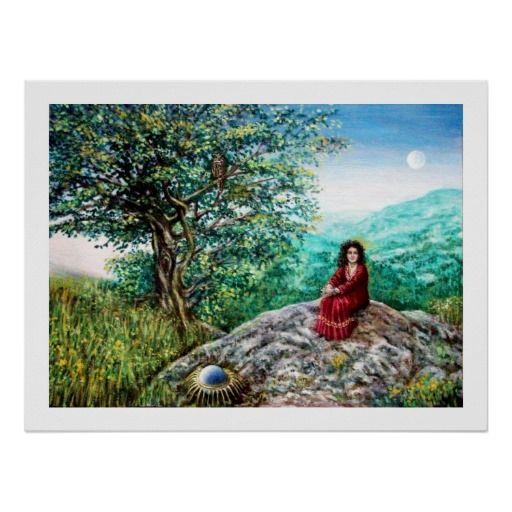 AURORA / MAGIC TREE, green, blue, Posters by Alessandro Lumini