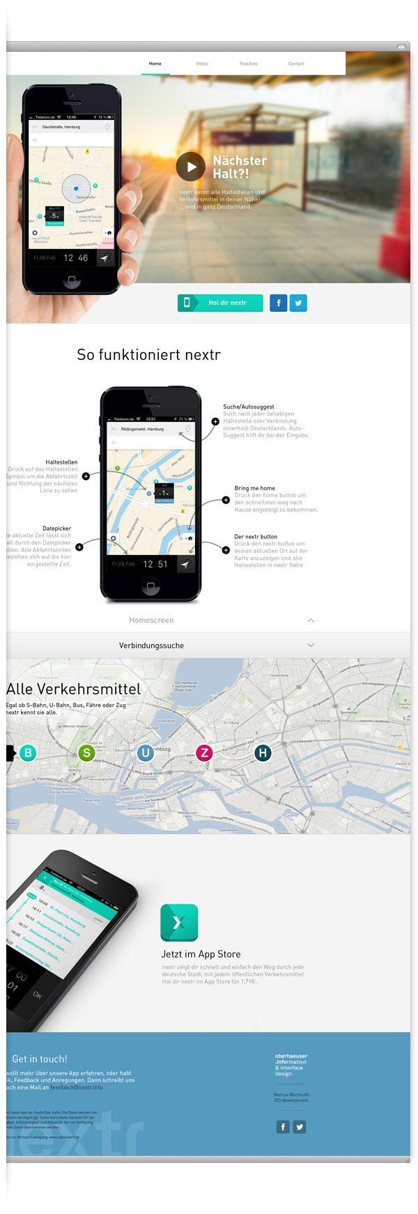 nextr app . public transportation guidance by Martin Oberhäuser, via Behance