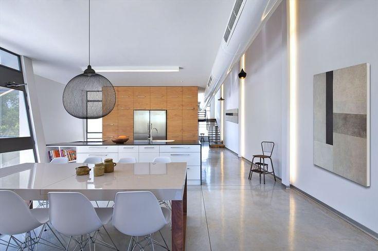 open concept modern kitchen. love the light fixture, too
