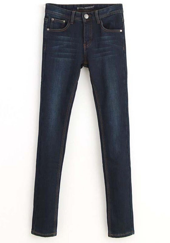 Dark Blue Plain Zipper Mid Waist Denim Jeans