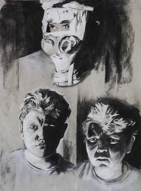 A set of three self portraits from year 12 (17 yo) in chalk and charcoal. At the time i was investigating chiaroscuro and the use of lighting in portraiture.