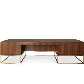 Custom Library Desk, furniture, interior design, office, walnut, bronze, midcentury modern, contemporary, minimalist, handmade, partners, Maxine Snider Inc.