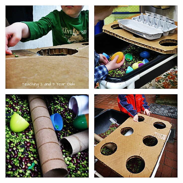 """Scooping & pouring at the sensory table ("""",)"""