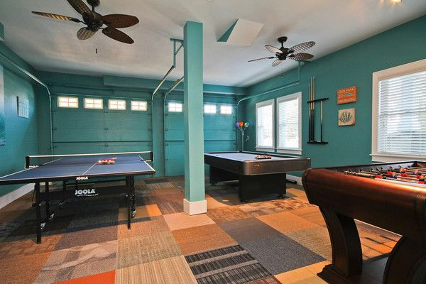 Garage converted to recreation game room