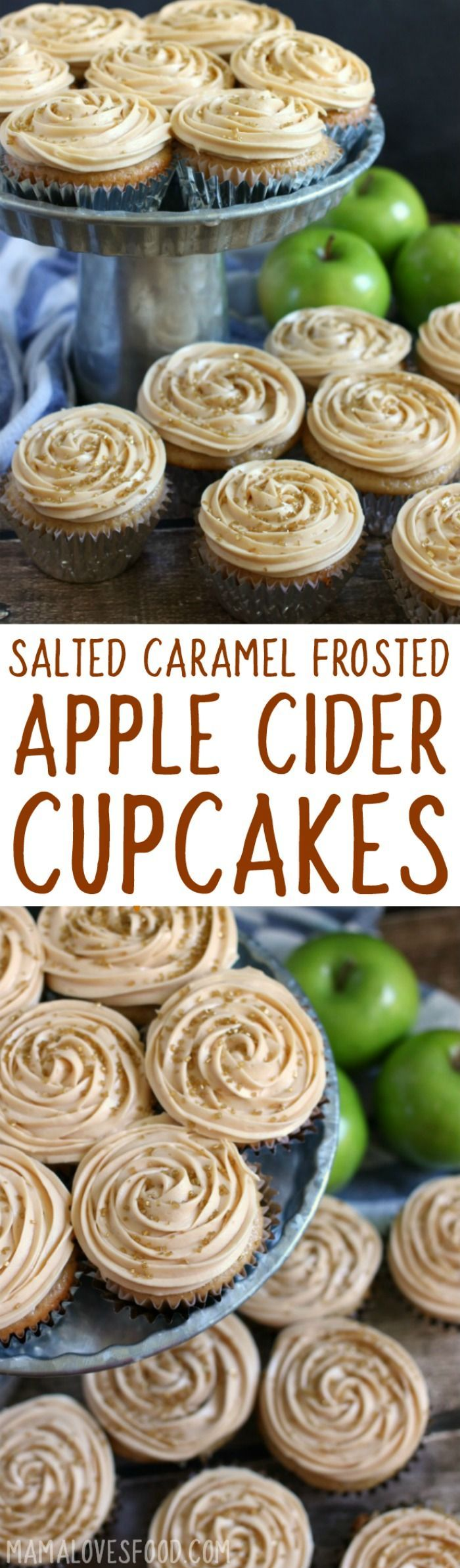 so easy! start with a box mix! Apple Cider Cupcakes with Salted Caramel Frosting is the perfect simple dessert recipe to celebrate the fall season.