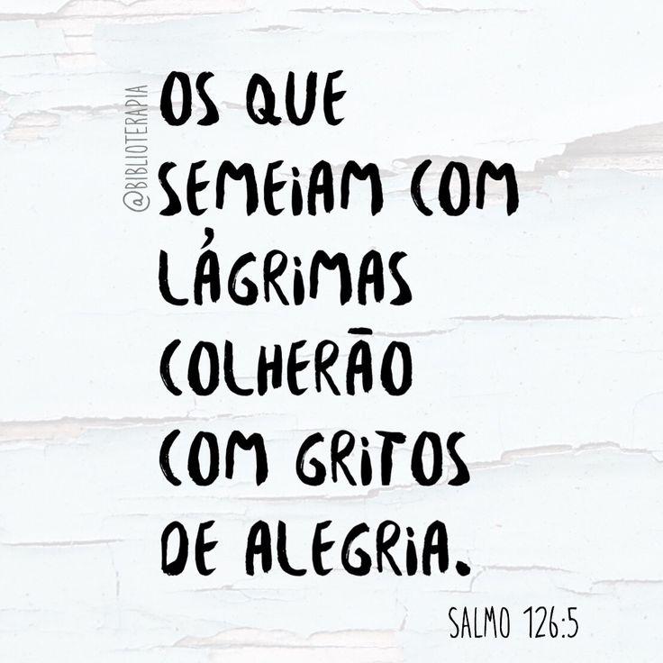 Os que semeiam com lágrimas colherão com gritos de alegria. Salmo 126:5 Tradução do Novo Mundo