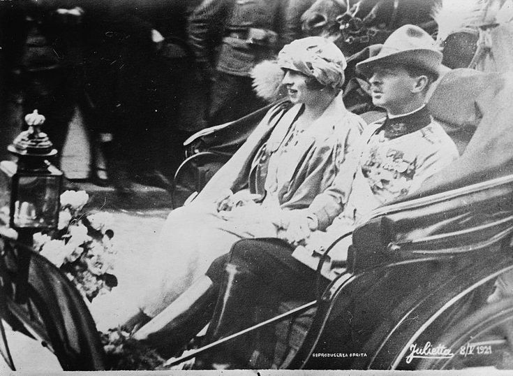 Princess Helen with her husband, Crown Prince Carol of Romania.  Their marriage began happily but soon soured and ended in divorce in 1927, 6 years after the birth of their son, Michael and 2 years after Carol renounced his rights to the throne.