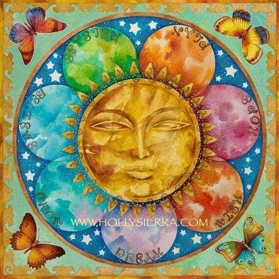 The Crystal Sun - A Rainbow Sun Face With Butterflies