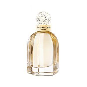 La femme Balenciaga aujourd'hui est à la fois fragile et sûre d'elle, naturelle avec de la personnalité, sophistiquée et passionnée. C'est une femme de son temps, une élégante au chic français, avec cette pointe de désinvolture. Tout comme le parfum, le flacon est le symbole parfait d'un savoir-faire d'exception, le reflet d'une haute couture extrêmement créative. Le flacon reprend une forme iconique de la couture Balenciaga : la cape, une des créations favorites de Balenciaga. La violette…